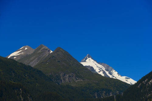 View from our hotel garden: the Grossglockner and the three Leiterkopfs