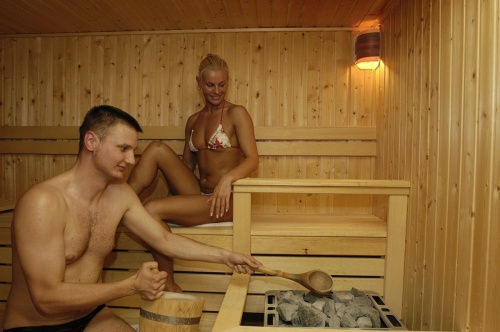 The atmosphere of a log sauna - Hunguest Hotel Pelion - Tapolca