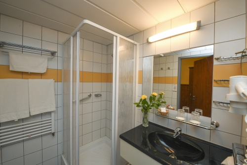 Bathroom with shower  - Hunguest Hotel Répce Gold - Bükfürdő